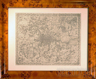 Professionally Framed Authentic1855 Antique Map of London by Colton