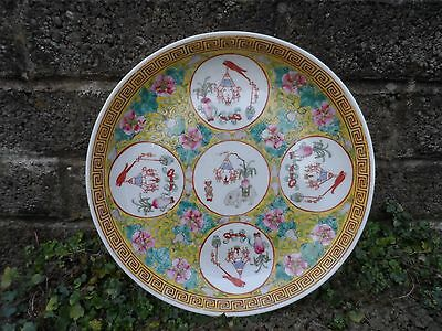 Antique Chinese porcelain charger dish - Guangxu mark & period on yellow ground