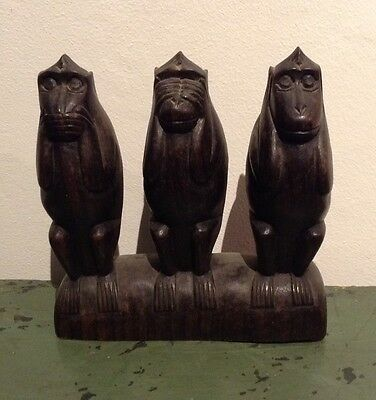 Vintage Carved Wood Poss Ebony African Wise Monkeys So No Speak No See No Evil