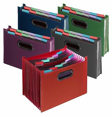 Plastic Index 13 Part Expanding Desk Home Office Storage Organiser A4 File.