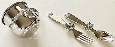 New In Box High Polished Silver /& Pink Baby Mug With Fork and Spoon