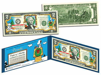 USA $2 Dollar Bill PEANUTS Charlie Brown & Snoopy CHRISTMAS Certificated Mint