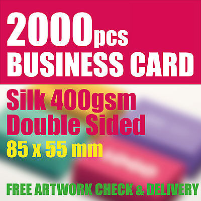 2000 Business Cards Silk 400gsm Full Colour Double Sided 85mm x 55mm UK Print