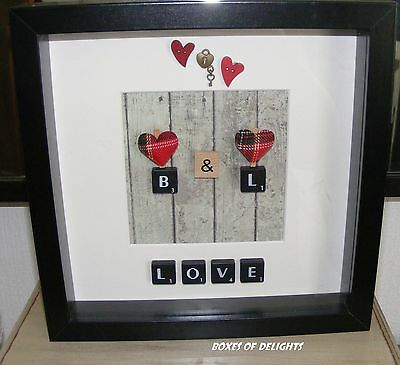 Love and hearts Personalised initials Scrabble art - handmade picture