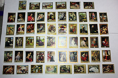 Lot of 52  Hungary  Postal  Postage Stamps  Art Collection   HUNG032