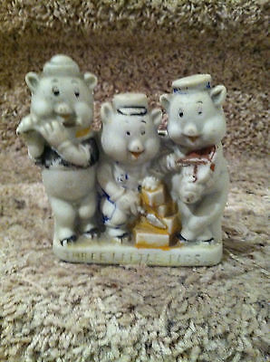 """3 LITTLE PIGS BISQUE TOOTHBRUSH HOLDER. About 4"""" x 3 1/2"""""""