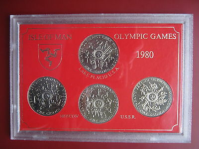 Man 1980 set 4 crowns Moscow XXII Olympic Games Pobjoy Mint UNC cased