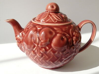 "Wade Collectors Teapot Maroon Pink ""Pears Cherries Grapes in Basket"" Design Mint"