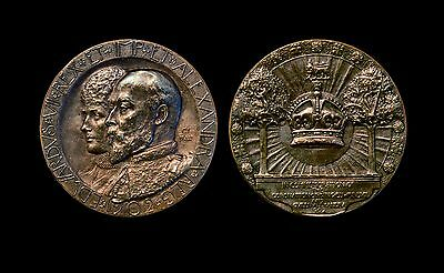 1902 Great Britain - King Edward Vii & Queen Alexandra Coronation Medal Bronze