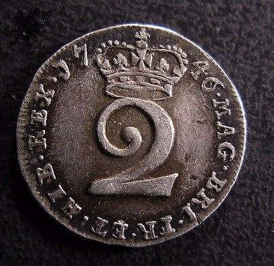 1746 George Ii British Silver Maundy Twopence