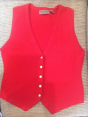 Signature Expressions Womens Vest Red Size L 100% Cotton Sleeveless Buttons New