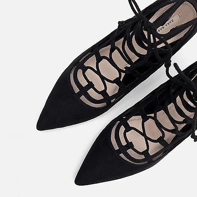 Zara Black Festival Lace Up High Heel Shoes Size 6 39