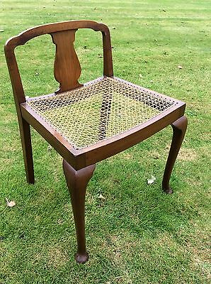 Antique Edwardian Walnut / Mahogany And Twine Pretty  Low Bergere Bedroom Chair