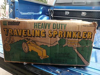 Vintage Lawn Sprinkler In Original Box Melnor Traveling Heavy Duty Cast Iron