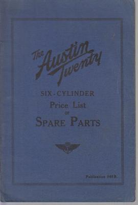 Austin Twenty Six Cylinder Saloon Original 1930 Factory Spare Parts Price List