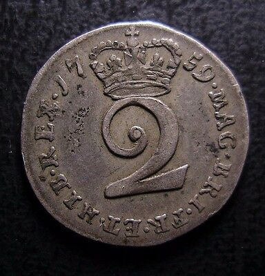1759 George Ii British Silver Maundy Twopence