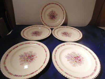 "Five Queen's Bouquet Luncheon Plates, 8"" Johnson Bros,1940"