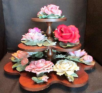 Vintage Capodimonte Franklin Mint13 X Roses 1985 Just Gorgeous W/stand  Kt126