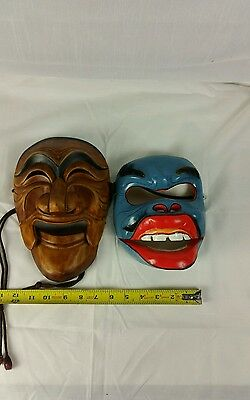 pair of japanese vintage theater mask