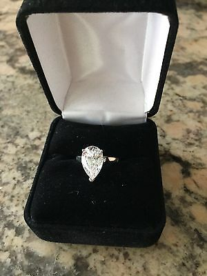 $3500 Ziamond PLATINUM 4 Carat Pear Shaped Solitaire Size 4 Ring