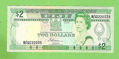 #d279. Fiji  Qeii 2 Dollar Note  Circulated  Banknote  D/12220339
