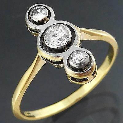 Late Victorian ANTIQUE C1900 3 DIAMOND 18ct Solid Yellow GOLD DINNER RING Sz K