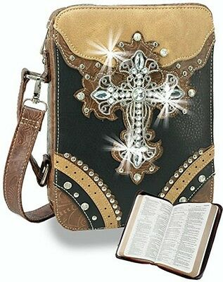 Rhinestone Cross Bible Case Cover With Shoulder Strap