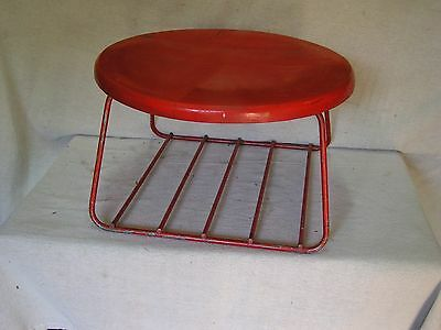 """Vintage mid century foot stool appr. 14"""" diameter top and 8"""" high red"""