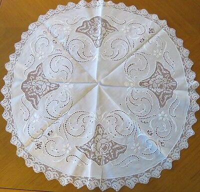 Antique Tablecloth Doily Filet Lace Insert Round Table Topper White Linen Center