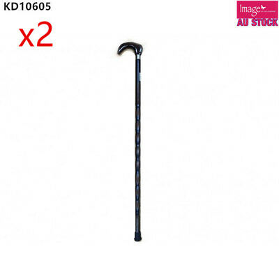 Wooden Walking Stick Cane Pole Varnished Dark Color Round Head 98cm KD10606
