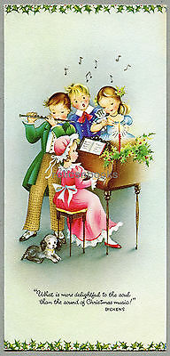 #160 Musical Old Fashioned Children at the Piano, Vintage Christmas Card