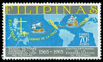 Scott # C92 - 1965 - 'Route from Spain to Mexico to Cebu and two Galleons '
