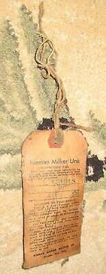 1951 Vintage Hinman Milker Unit Inspection Tag Dairy Agriculture Collectible USA