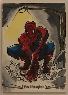 2016 Marvel Masterpieces Spider-Man SKETCH CARD by Dan MacIsaac 1/1