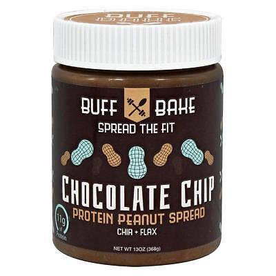 NEW Buff Bake 11g Protein Peanut Butter Chocolate Chip Spread Natural Chia Flax