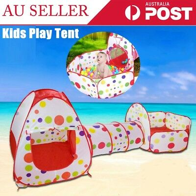 Kids Baby Play Tunnel Tent Ball Pool Pop Up Playhouse Outdoor Playground Set AU
