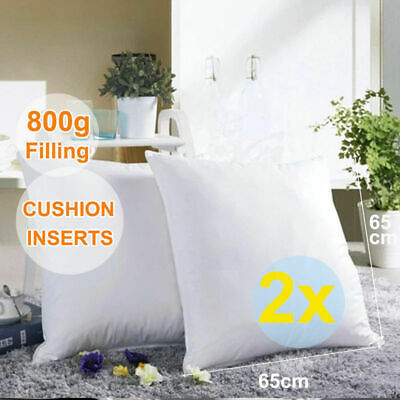 2x European Cushion Pillow Inserts Polyester Filling 800g 65x65cm White New