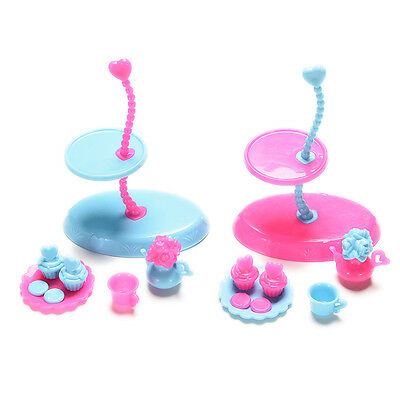 4 Pcs/set Food Display Stand for Barbie with Tray Cup Kettle  Furniture SG