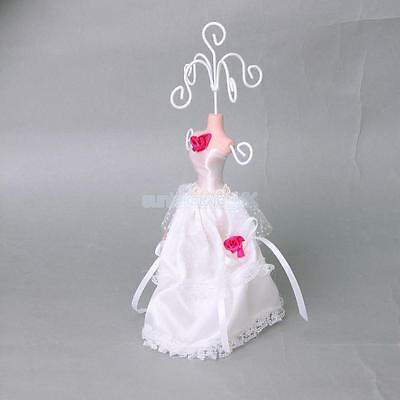 Mini White Lace Gown Dress Princess Mannequin Earring Jewelry Display Holder