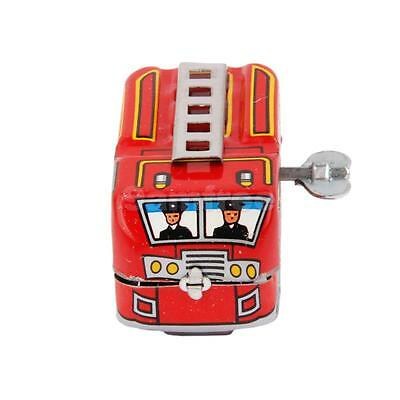 Retro Red Fire Truck Clockwork Wind-up Tin Toy w/Box Mechanical Collectible