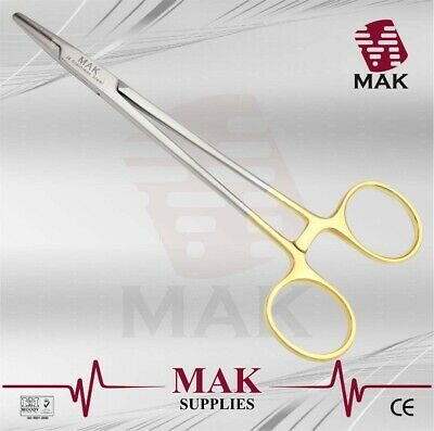 """MAK TC Halsey Needle Holder Forceps 15cm Gold Handle Fine Quality Instruments"