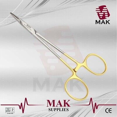 """MAK TC Halsey Needle Holder Forceps 13cm Gold Handle Fine Quality Instruments"