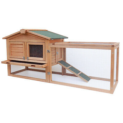 XXL Rabbit hutch Open enclosure Elevated shelter Spruce wood