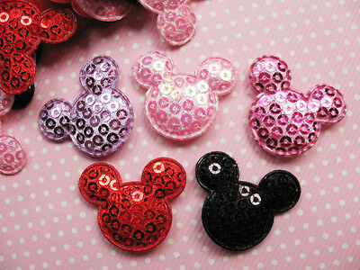10 x SEQUIN MICKEY MINNIE MOUSE HEAD APPLIQUE HEADBANDS BOWS CARD MAKING