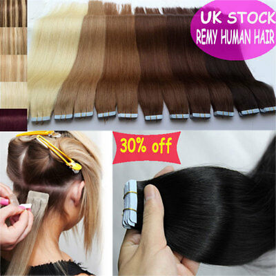 7A 100G Tape In 100% Remy Human Hair Extensions Brazilian Real Thick UK STOCK L3