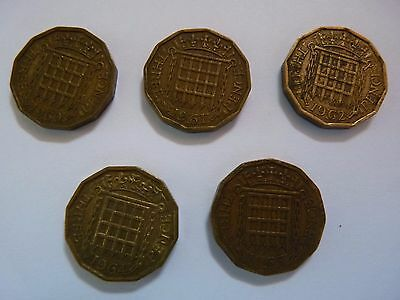 5 x Queen Elizabeth II threepence 3d coins - circulated