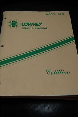 Original Lowrey Service Manual Model  D575