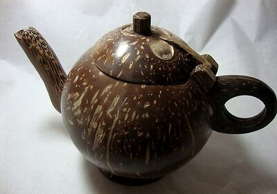 Tea Pot Coconut Shell Wooden  Thai Handcraft Nature For Gift & Collectibles