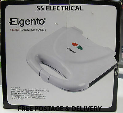 New Elgento Twin Slice Toasted Sandwich Toastie Maker E27009 - White