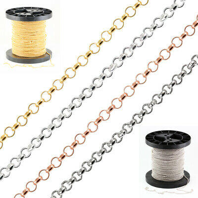 Sterling Silver 925 Rolo Belcher Silver Chain for Jewelry Making